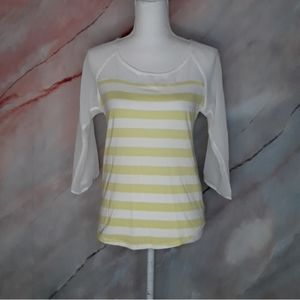 LC LAUREN CONRAD Lime Green Striped Bow Blouse